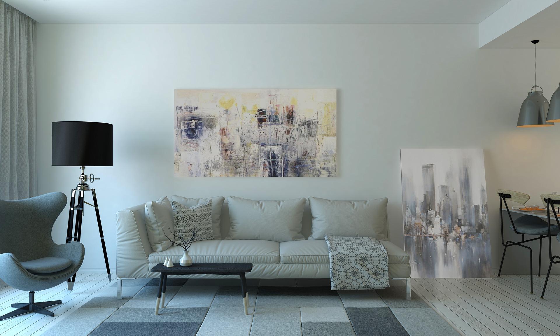 Pintura azul en salón